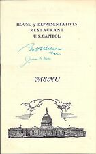 1958 US House of Representatives Restaurant Menu SIGNED by Bob Wilson & J. Utt