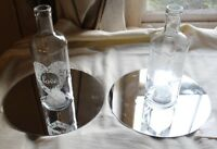 Glass Love Bottles and Mirror Plates Wedding Table Decorations Centerpieces