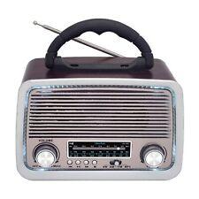 RADIO SAMI DE MESA 3 BANDAS, FUNCION BLUETOOTH, LED, BATERIA RECARGABLE, Madera