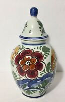 Colorful Delft Hand Painted Delft Small Covered Ginger Jar Made in Holland
