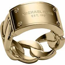 MICHAEL KORS MKJ3736 Gold Tone Curb Chain w MK Logo Plaque Ring Size 8 BNWT