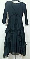 Phase Eight Black Silk Boho gothic Dress Size S