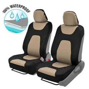Waterproof Seat Covers for Car SUV Van Auto - Black & Tan Sport Protection 2pc