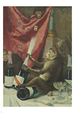 FRENCH VINTAGE POSTER monkey playing with mum's champagne COLLECTOR'S 24X36