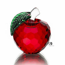 Red Apple Crystal Cut Facted Paperweight Ornament Wedding Home Decor Gift 40mm