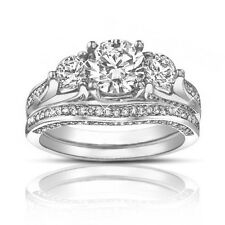 2.50 Ct TW Round Diamond Engagement Ring With Wedding Band Excellent Cut
