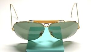 B&L Ray Ban USA Gold Shooters / Bullet Hole Aviator Vintage 62's Sunglasses 15D