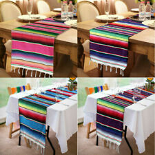 5pcs Mexican Table Runner Serape Tablecloth Fringe Cotton Wedding Birthday Decor