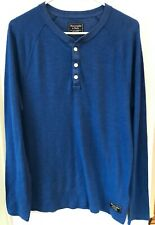 ABERCROMBIE & FITCH MENS HENLEY SHIRT - BLUE - SIZE MEDIUM - GREAT CONDITION!!!