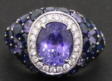 18K white gold amazing 8.07CT diamond/Blue sapphire cluster cocktail ring size 6