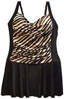 New Heat Womens Plus Size Swimdress Swimsuit 18 20 22 24 W Shirred Safari