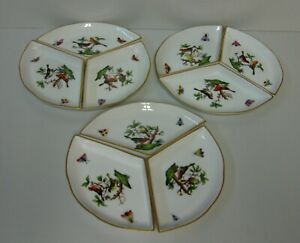 Herend ROTHSCHILD BIRD RO Hors D'oeuvres Dishes 443  3 Piece Set  CHOICE DESIGNS