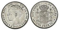 1 PESETA SPAIN / 1 PESETA ESPAÑA. Ag. ALFONSO XIII. 1901*. AU/SC-. ATRACTIVA.