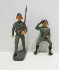 ELASTOLIN VINTAGE COMPO COMPOSITION TOY SOLDIER PAIR 1 MARCHING 1 MOUNTED LINEOL