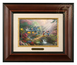 Thomas Kinkade Studios Mickey and Minnie Sweetheart Bridge Brushwork (Framed)