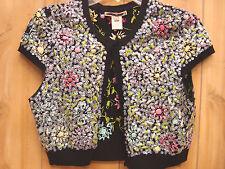 Nanette Lepore Women's Cotton Blend Black Sequined Crop Sweater Jacket Large