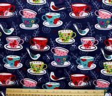 SNUGGLE FLANNEL* TEA CUPS, BIRDS & BUTTERLIES on Navy Blue 100% Cotton *NEW* BTY