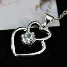 """HEARTS LOVE CRYSTAL charm dainty 20"""" Sterling Silver 925 necklace mom female"""