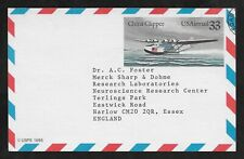 E6194 CHINA CLIPPER USA AIR MAIL CARD TO ESSEX ENGLAND 1985 AVIATION