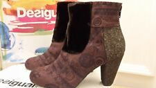 DESIGUAL Quirky Ankle Boots. Velvet Top, Print Fabric Heel. Brown. 38 (5UK). New