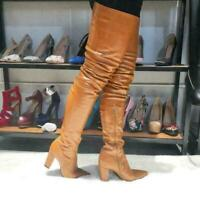 US4-12.5 Womens Over the Knee Boots Pointy Toe High Block Heel Nightclub Shoes