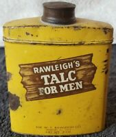 Vintage 1940`s Rawleigh's Talc For Men Collectible Tin, Half  Full
