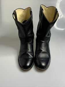 Leather Roper Cowboy boots Made in Mexico Size 11EE Black