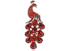 Ruby Fire Red Crystal Rhinestone Peacock Bird Statement Jewel Fashion Pin Brooch