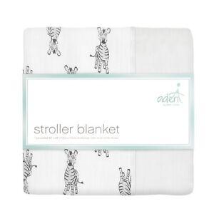 aden baby muslin stroller/pram/mini blanket. super soft. safari babes zebra S373