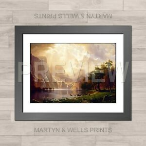 Albert Bierstadt framed print: Sierra Nevada. 400x325mm. Textured canvas paper