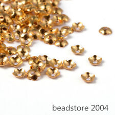 285pcs/10g Gold Tone Brass Flower Bead Caps Smooth 5-Petal Jewelry Findings 4mm