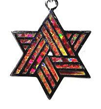 "Silver 925 SF Pendant Orange Lab Fire Opal STAR OF DAVID 1"""