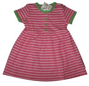 Hanna Andersson Pink/White/Green Stripe COTTON Day Dress