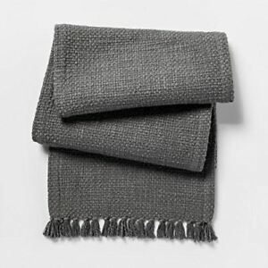 "Threshold Gray Basket Weave Table Runner - 14""x72"" 100% Cotton NEW TASSELS"