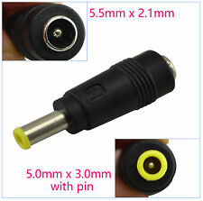 5.0x3.0mm Male to 5.5x2.1mm Female DC Power Adapter Plug for Samsung Laptop