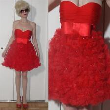 Jovani Designer Strapless mini Red Dress ruched corset Bow Flowers & beads 0 XXS