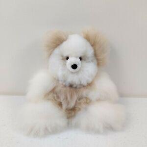 Alpaca Fur Stuffed Teddy Bear Handmade White Tan Super Soft