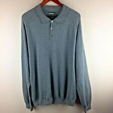 Eddie Bauer Supima Cotton Sz TALL XL Gray Button Collar Long Sleeve Sweater Top
