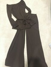 Tommy Bahama Brown off shoulder top with pants (34.5 inseam)  S Great for Travel