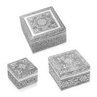 Handcrafted Oxidized Aluminium Nested Set of 3 Jewelry Organizer Box Storage