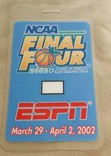2002 Espn Ncaa Basketball Laminated Backstage Pass Maryland Vs Indiana
