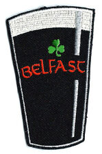 Irish Belfast Pint with Clover Embroidered Sew-on Badge Patch Appliqué