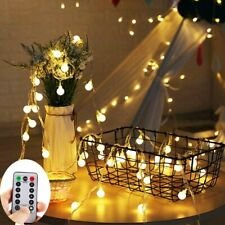 16.4ft 50 LED Globe String Lights Battery Operated with Remote Controller Timer