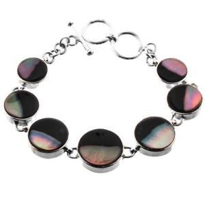 IRIDESCENT TWO-TONE BROWNLIP MOTHER OF PEARL SHELL 925 STERLING SILVER bracelet