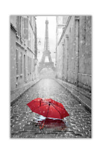 Black and White Eiffel Tower in Paris with Red Umbrella City Poster Prints