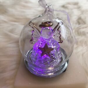 VINTAGE Angel Ornament Light Up Color Changing Christmas Angel In Globe Ganz NIB
