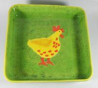 "Mexico Mexican Folk Art Pottery Dish Bowl Chicken Green  9"""