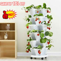 Vertical Stackable Strawberry Herb Garden Planter Flower Veg Pots DIY Home 2021