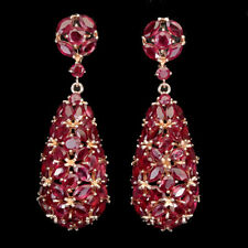 Marquise Red Ruby 5x2.5mm 14K Rose Gold Plate 925 Sterling Silver Earrings