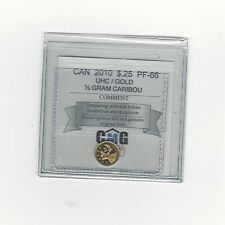 **2010 Gold Caribou**Coin Mart Graded Canadian, 25 Cent,**PF-66 UHC 1/2 gr.Gold*